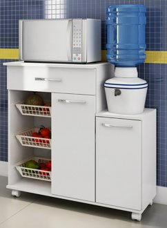 Imagem - Balcão de Cozinha Casamia 199 Multiuso 2 Portas 1 gaveta Branco cód: 2100