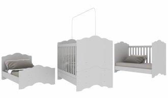Imagem - Berço Mini Cama 3 em 1 Baby Soft Multimóveis 0536PA.156-Branco MDP MDF cód: 37671
