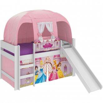 Imagem - Cama Princesa Disney Pura Magia Play C/Escorregador/Barraca Branca cód: 35632