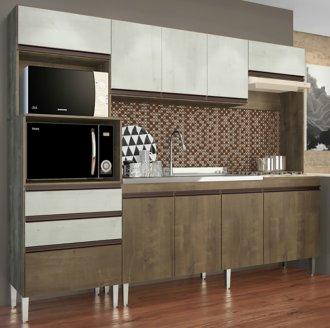 Imagem - Cozinha Compacta Ariel 10 Portas e 2 Gavetas 268 Casamia Snow com Dark cód: 2077