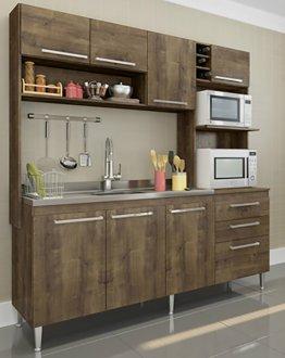 Imagem - Cozinha Compacta Blume 8 Portas e 2 Gavetas 173 Casamia Dark com Dark cód: 2493