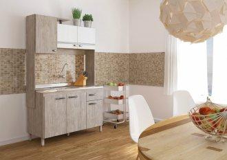 Imagem - Cozinha Compacta Móveis Sul 4591 Gabi 06 Portas 01 Gaveta Pérola e Branco Texturado cód: 34528