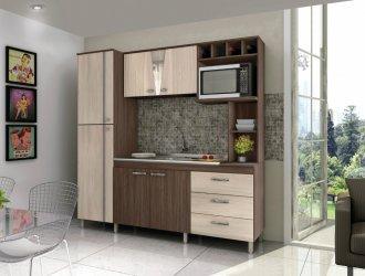 Imagem - Cozinha Compacta Móveis Sul 4707 Morena 06 Portas 03 Gavetas Palermo e Aspen  cód: 34513