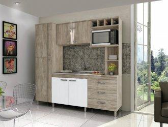 Imagem - Cozinha Compacta Móveis Sul 4707 Morena 06 Portas 3 Gavetas Pérola e Branco Texturado cód: 34512