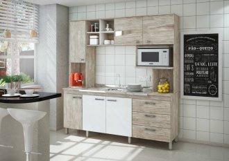 Imagem - Cozinha Compacta Móveis Sul 4708 Serena 06 Portas 03 Gavetas Pérola e Branco Texturado  cód: 34510