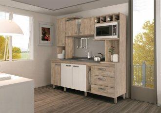 Imagem - Cozinha Compacta Móveis Sul 4721 Aurora ll 06 Portas 03 Gavetas Pérola e Branco Texturado  cód: 34520
