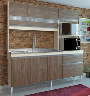Imagem - Cozinha Compacta Prince 7 Portas 2 Gavetas 245 Casamia natura com nover cód: 2494