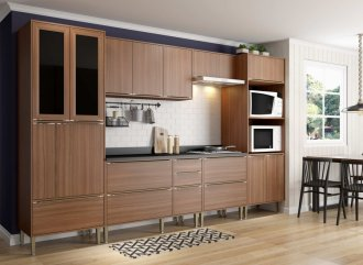 Imagem - Cozinha Completa Multimóveis Calábria 07 Peças 5451 Nogueira MDP