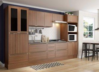 Imagem - Cozinha Completa Multimóveis Calábria 10 Peças 5451 Nogueira MDP