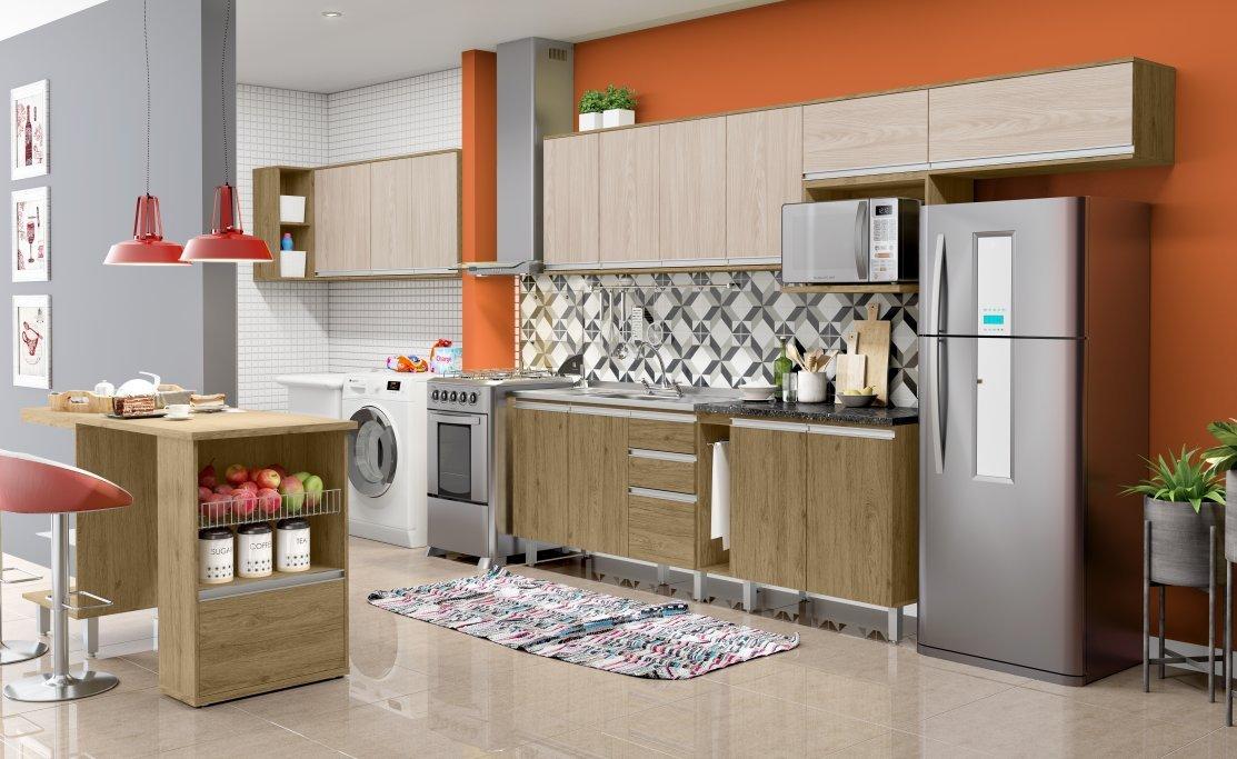 Imagem - Cozinha Modulada Henn 14 Peças Integra Rústico/Fendi cód: 35809