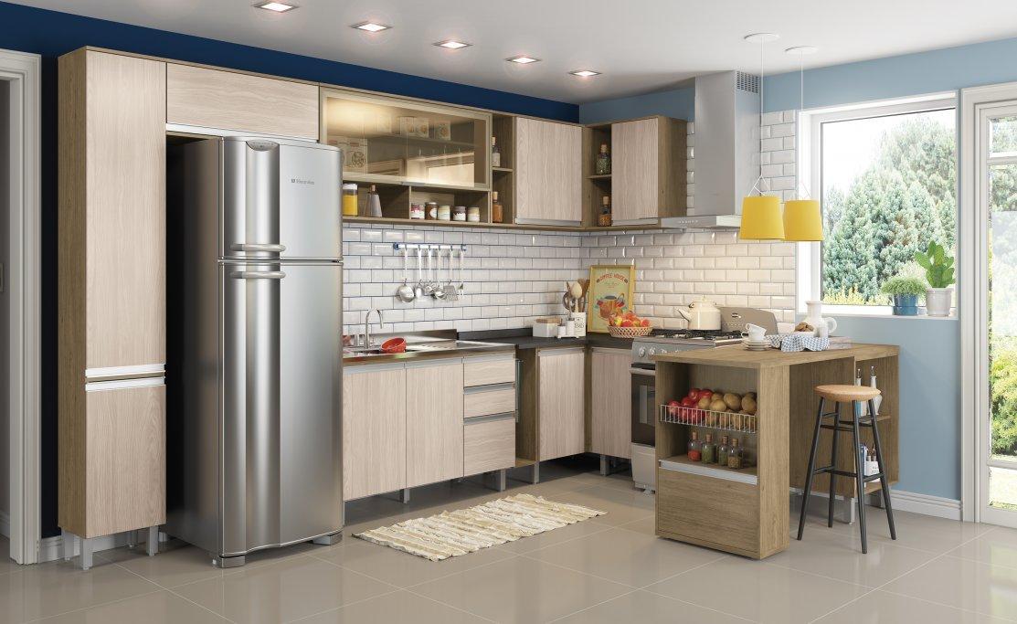 Imagem - Cozinha Modulada Henn 14 Peças Integra Rústico/Fendi cód: 35806