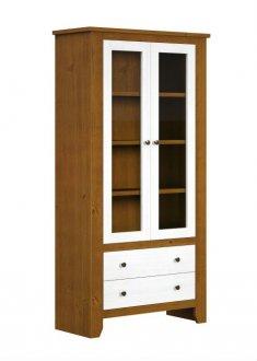 Imagem - Estante Finestra Rubi 2 Portas com Vidro e 02 Gavetas  Branco Teca cód: 35234