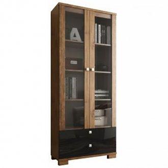 Imagem - Estante para Livros com Porta de Vidro C604 Dalla Costa Nobre com Preto Brilho cód: 830