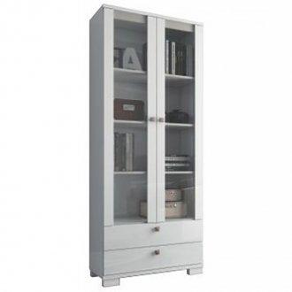 Imagem - Estante para Livros com Portas de Vidro C604 Dalla Costa Branco Brilho cód: 831
