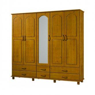 Imagem - Guarda Roupa Finestra Esmeralda 1415 5 Portas de Madeira Teca cód: 970