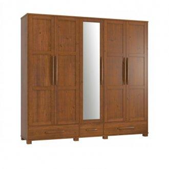 Imagem - Guarda Roupa 05 Portas com Espelho 2110 Finestra Pérola Imbuia cód: 42