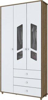 Imagem - Guarda Roupa Bambolê 3 Portas Henn Rústico com Branco cód: 3222