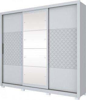 Imagem - Guarda Roupa Cancun 3 Portas Deslizantes Henn Branco HP ou Silk Branco HP cód: 3170