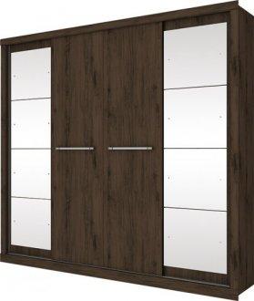 Imagem - Guarda Roupa Henn c/Espelho Elegance 4 Portas de Correr Café cód: 3166
