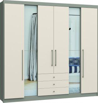 Imagem - Guarda Roupa Evidenza Linha Quarto Castro 6 Portas c/ Espelho Nacar Off White