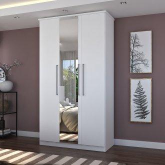 Imagem - Guarda Roupa Foscarini 973E1 3 Portas Com 1 Espelho 100% MDF Branco  cód: 37093