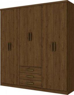 Imagem - Guarda Roupa Henn Caju 6 Portas 3 Gavetas Castanho HP cód: 36971