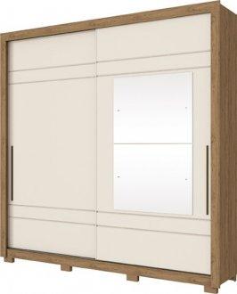 Imagem - Guarda Roupa Henn Delicato 2 Portas de Correr 2 Espelhos Rustico /Off White cód: 35277