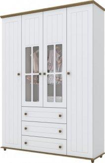 Imagem - Guarda Roupa Henn Encanto 04 Portas Branco HP/Rústico cód: 36804