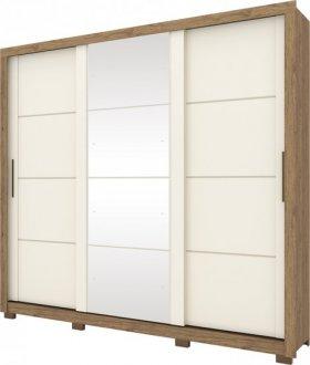 Imagem - Guarda Roupa Henn Payson 03 Portas Deslizantes C/ 01 Espelho Rústico/Off White cód: 36909