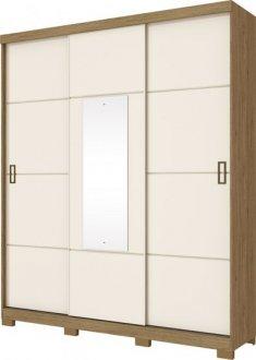Imagem - Guarda Roupa Henn Silver 3 Portas de Correr 02 Gavetas 1 Espelho Rústico/OFF White cód: 36927