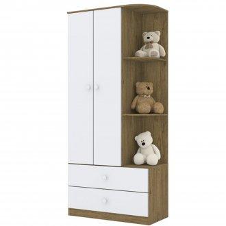 Imagem - Guarda Roupa Infantil Henn Labirinto 02 Portas Rústico/Branco cód: 36842