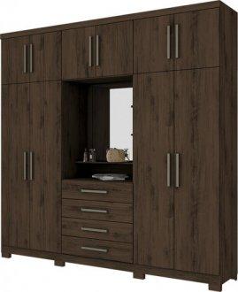 Imagem - Guarda Roupa Viena 10 Portas 4 gavetas com Espelho Henn Café cód: 3193