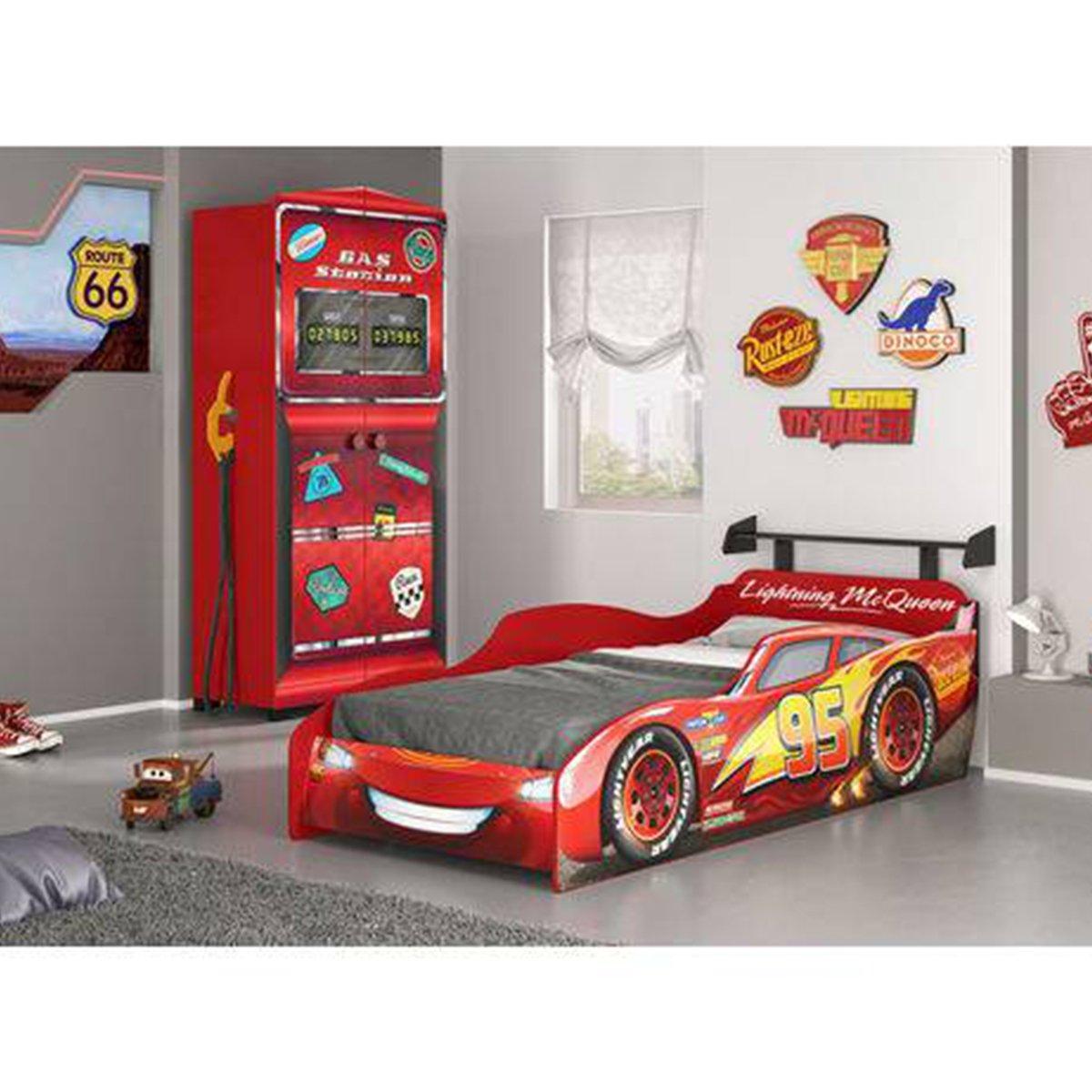 Imagem - Jogo de Quarto Infantil Carro Star Disney e Guarda Roupa Gas Station Pura Magia cód: 36455