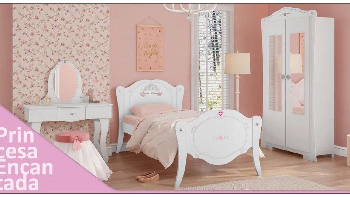 Imagem - Jogo de Quarto Infantil Princesa Encantada Pura Magia Branco/Rosa cód: 36444