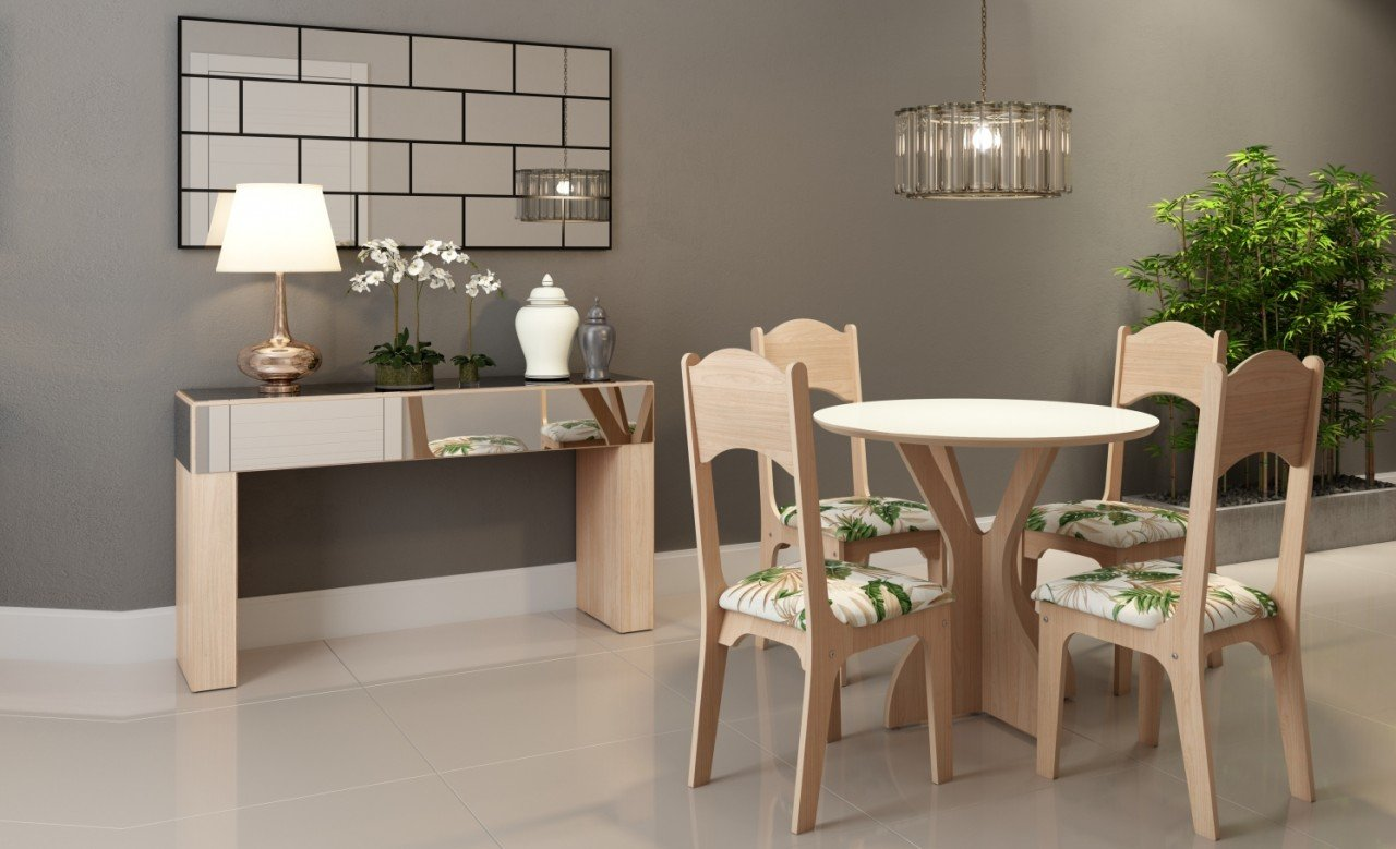 Imagem - Jogo Sala de Jantar Dalla Costa Mesa Redonda com 4 Cadeiras cód: