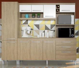 Imagem - Kit Cozinha Bruxelas 10 Portas e 2 Gavetas 250 Casamia Carvalho com Branco cód: 2094
