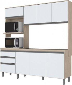 Imagem - Kit Cozinha Compacta 8 Portas 2 Gavetas Briz Fendi com Branco cód: 3413