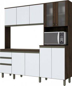 Imagem - Kit Cozinha Compacta 10 Portas 2 Gavetas Briz Café com Branco cód: 3409