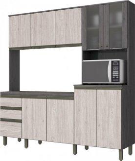 Imagem - Kit Cozinha Compacta 10 Portas 2 Gavetas Briz Gris com Palha cód: 3408