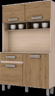 Imagem - Kit Cozinha Compacta Briz 105cm Fendi Rústico cód: 3423