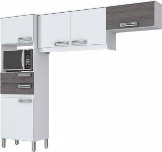 Imagem - Kit Cozinha Compacta 5 Portas Briz Branco com Gris cód: 3419