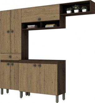 Imagem - Kit Cozinha Compacta 7 Portas 1 Gaveta Briz Café com Rústico cód: 3421