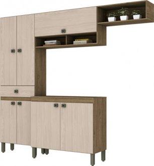 Imagem - Kit Cozinha Compacta 7 Portas 1 Gaveta Briz Rústico com Fendi cód: 3422