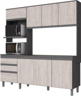 Imagem - Kit Cozinha Compacta 8 Portas 2 Gavetas Briz Gris com Palha cód: 34141