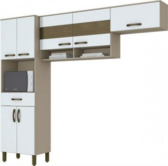 Imagem - Kit Cozinha Compacta Briz B115 07 Portas 01 Gavetas Branco Cristal cód: 35468
