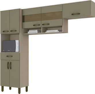 Imagem - Kit Cozinha Compacta Briz 07 Portas 01 Gavetas Cristal Duna cód: 35467