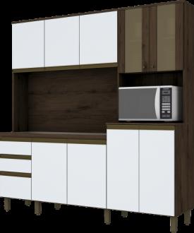Imagem - Kit Cozinha Compacta Briz B118 10 Portas 02 Gavetas Café Branco cód: 35463