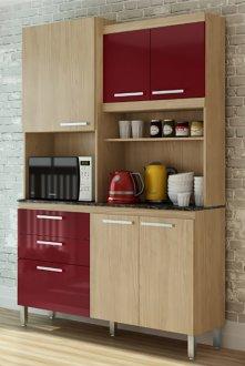 Imagem - Kit Cozinha Spazio 6 Portas e 2 Gavetas Casamia Carvalho com Bordô cód: 2092