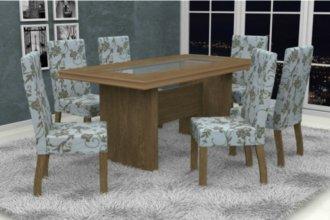 Imagem - Mesa América Tampo MDF com Vidro 6 Cadeiras Madri Móveis Dolimar Inovata  cód: 2814