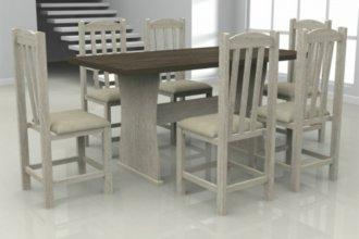 Imagem - Mesa França Tampo Wengue MDF com 6 Cadeiras Rubi Móveis Dolimar Teka cód: 2805